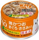〈CIAO ホワイティ(とりささみシリーズ)〉焼かつお まぐろ・ささみ入り 48缶