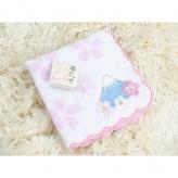 夢ごこちタオルハンカチ 桜柄富士山刺繍ピンク 日本製 お土産やプレゼントに