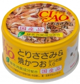 〈CIAO ホワイティ(とりささみシリーズ)〉とりささみ&焼かつお かつお節入り 48缶
