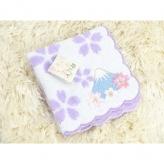 夢ごこちタオルハンカチ 桜柄富士山刺繍ラベンダー 日本製 お土産やプレゼントに