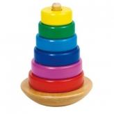 Goki ゴルネスト&キーゼル スタッキングタワーリング 木のおもちゃ 知育玩具
